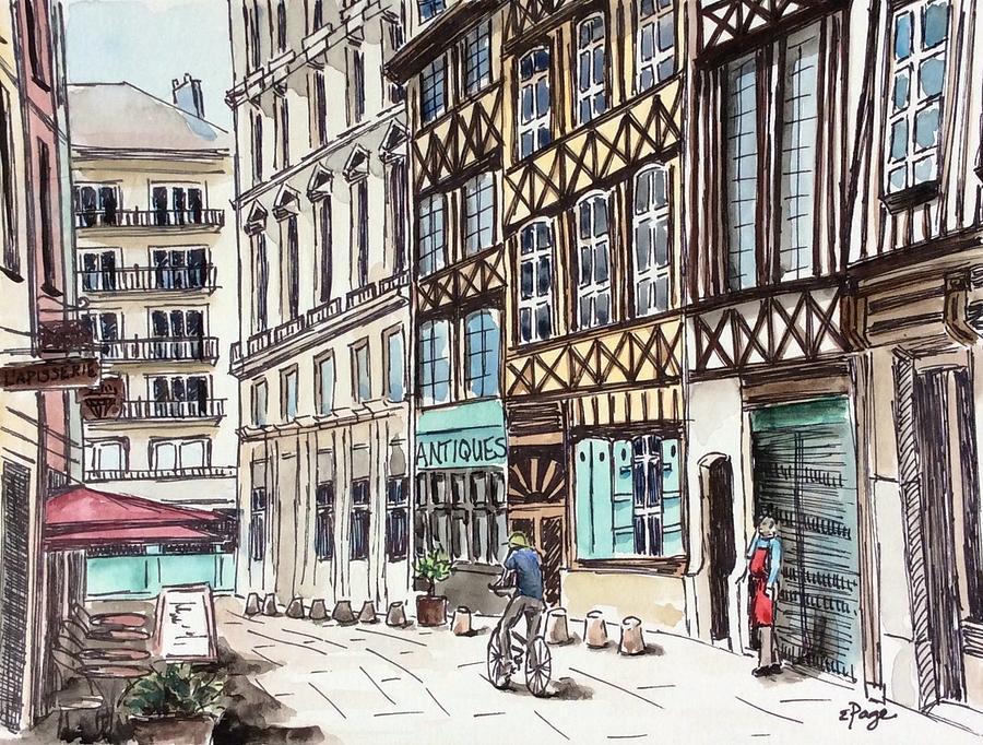 Rouen Painting - Rue Malpalu, Rouen, France II by Emily Page