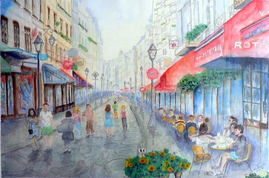 Sidewalk Cafes Painting - Rue Montorgueil Paris Right Bank by Dan Bozich