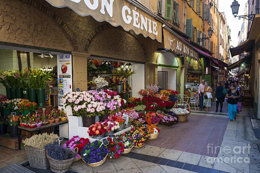 Florist Photograph - Rue Pairoliere In Nice by Elena Elisseeva