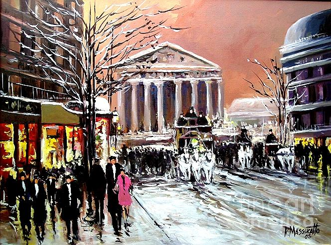 Rue Royale With Snow Painting by Ricardo Massucatto