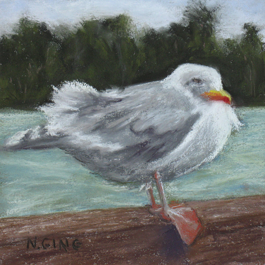 Seagulls Painting - Ruffled Feathers by Nancy Ging