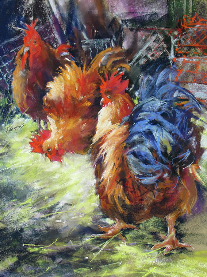 Chickens Painting - Ruffled Feathers by Rae Andrews