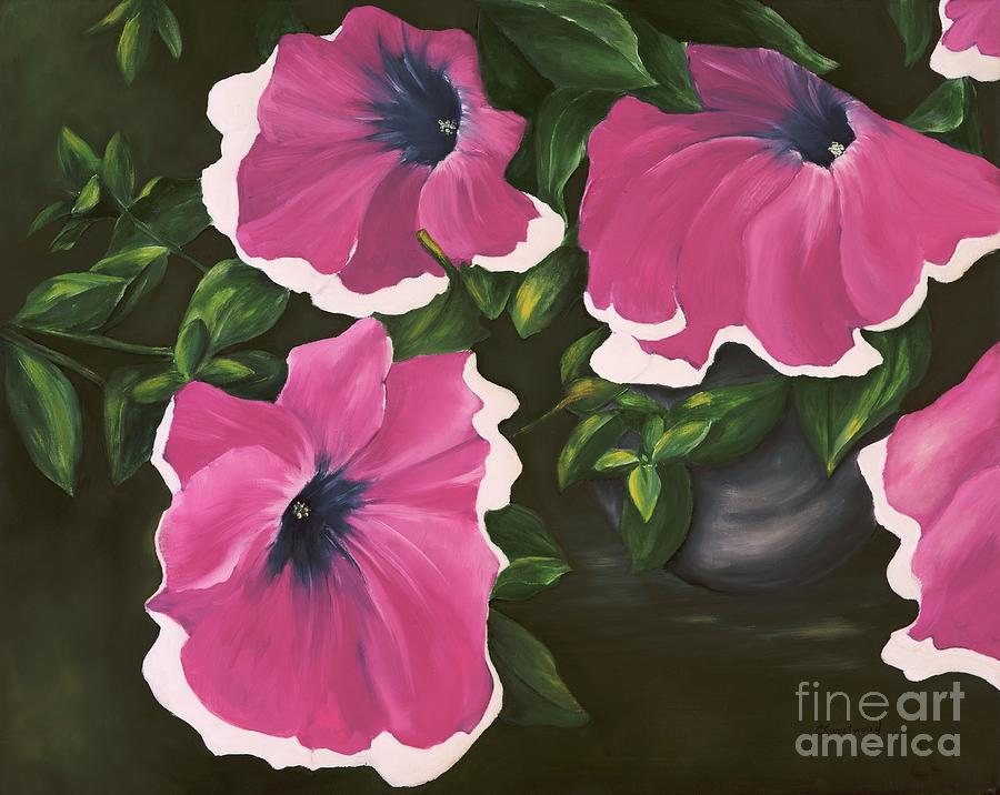 Petunia Painting - Ruffled Petunias by Carol Sweetwood