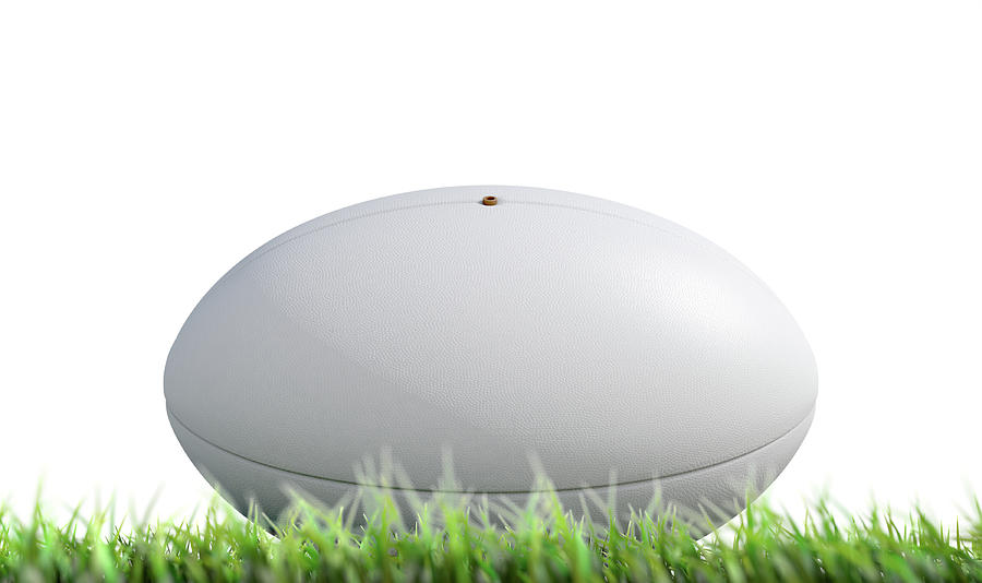 Rugby Digital Art - Rugby Ball Resting On Grass by Allan Swart