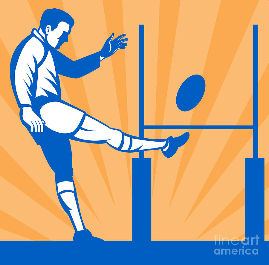 Illustration Digital Art - Rugby Goal Kick by Aloysius Patrimonio