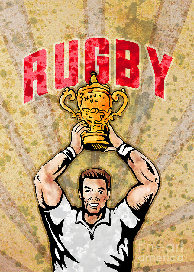 Rugby Digital Art - Rugby Player Raising Championship World Cup Trophy by Aloysius Patrimonio