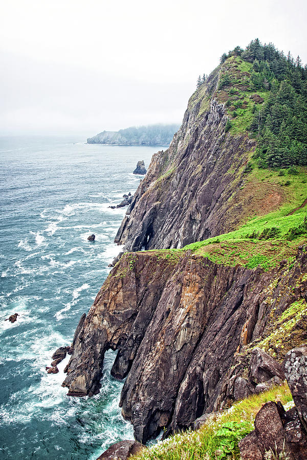 Ocean Photograph - Rugged Oregon Coast on a Foggy Day by Lincoln Rogers