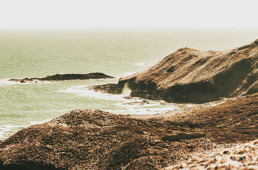 Vintage Photograph - Rugged Rocky Cape by Jorgo Photography - Wall Art Gallery