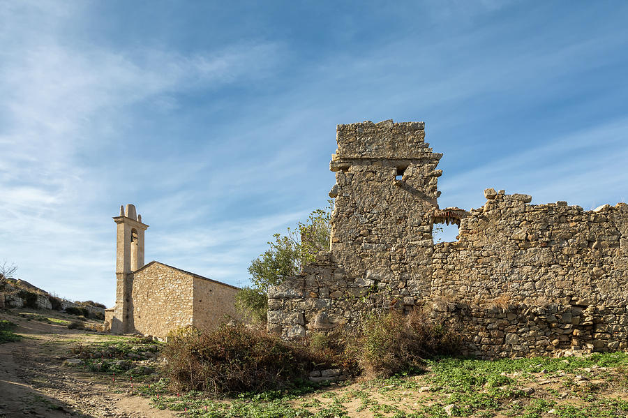 Ancient Photograph - Ruined Building And Restored Church At Occi In Corsica by Jon Ingall