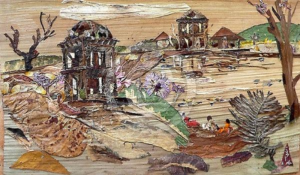 Landscape Mixed Media - Ruined Structures  by Basant Soni