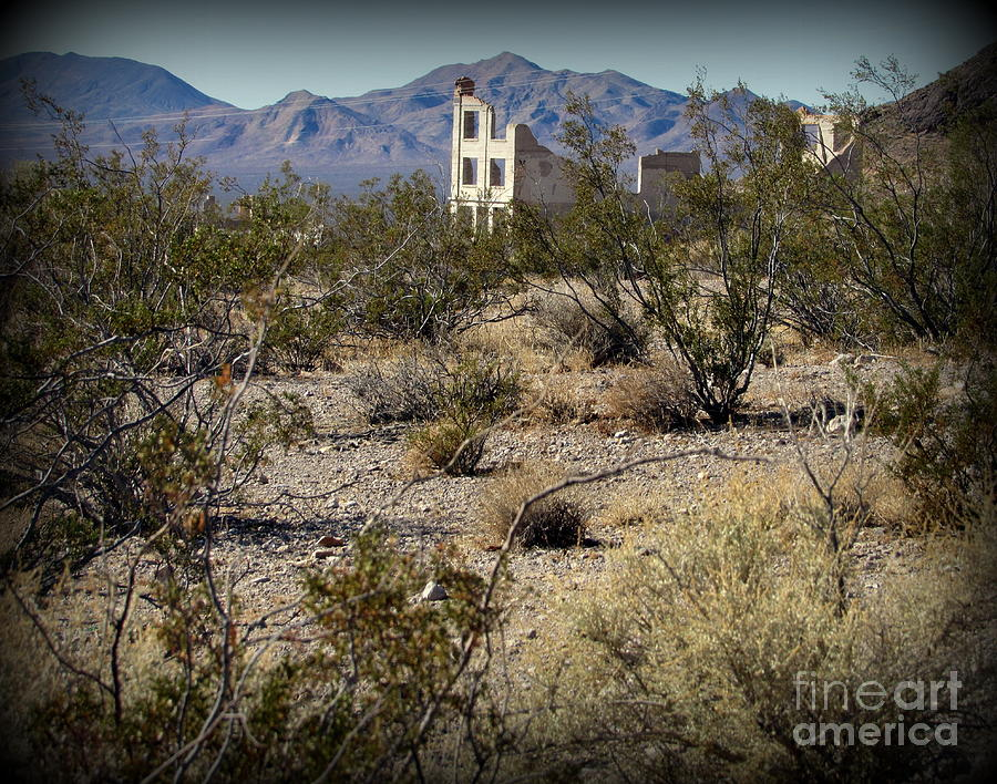 Rhyolite Photograph - Ruins at Rhyolite Ghost Town by Joy Patzner