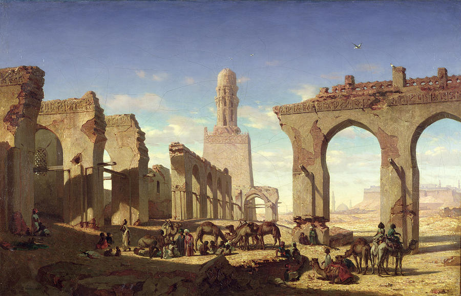 Ruins Painting - Ruins Of The Mosque Of The Caliph El Haken In Cairo by Prosper Georges Antoine Marilhat
