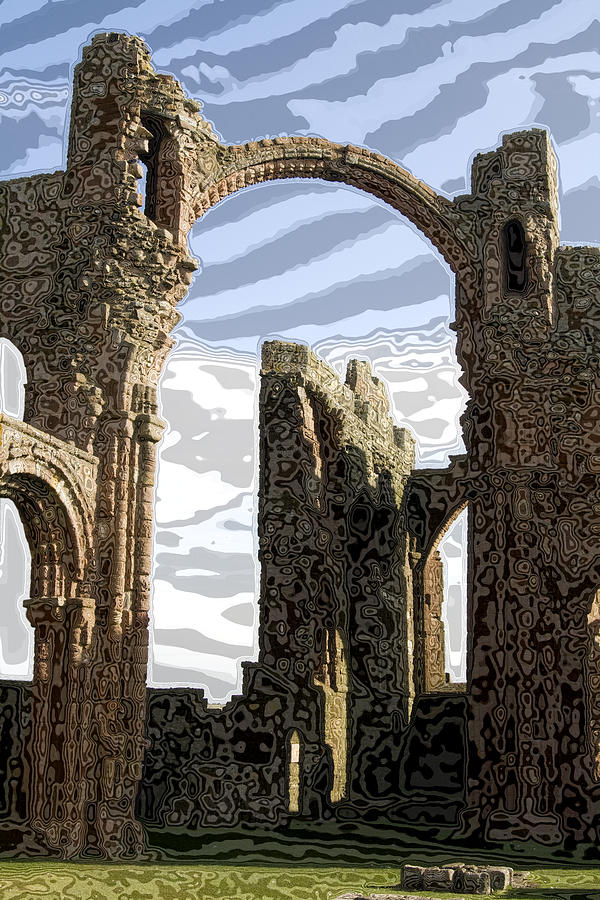 Monestary Glass Art - Ruins On The Holy Island by Carl Purcell