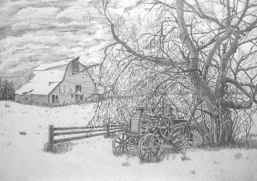 Landscape Drawing - Rumbly by Dean Herbert
