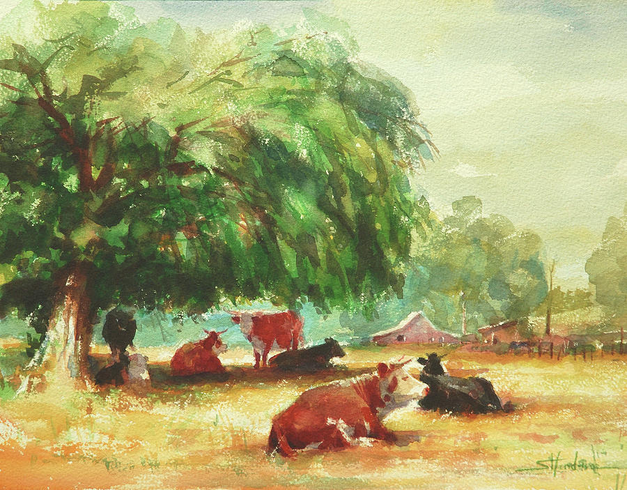 Cows Painting - Rumination by Steve Henderson