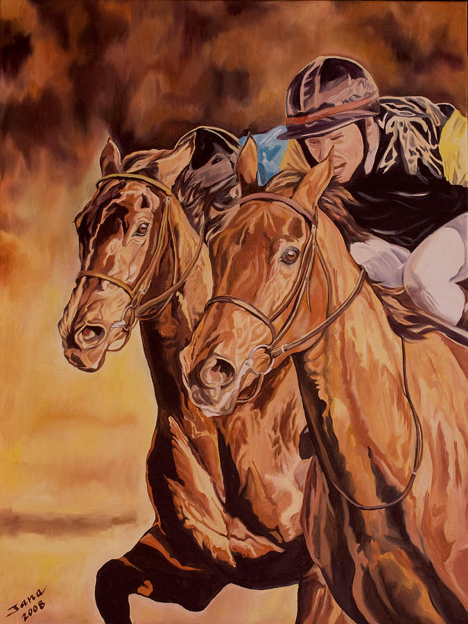 Horse Racing Oil Paintings Painting - Run For Gold by Jana Goode
