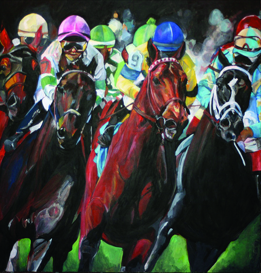 Horse Racing Painting - Run For The Roses by Erin  Svendsen