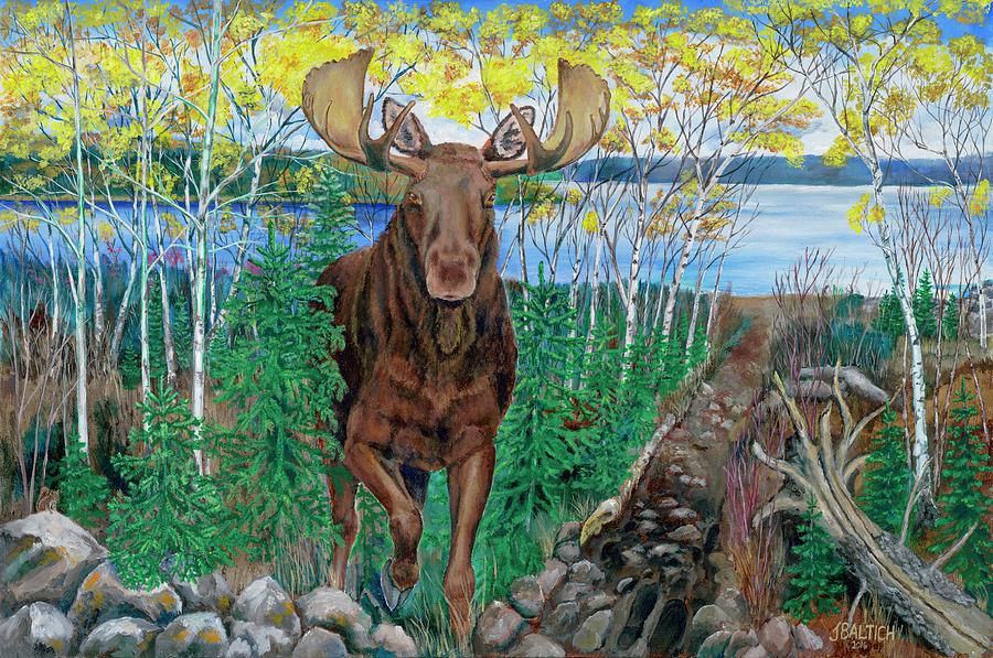 Bull Moose Painting - RUN by Joe Baltich