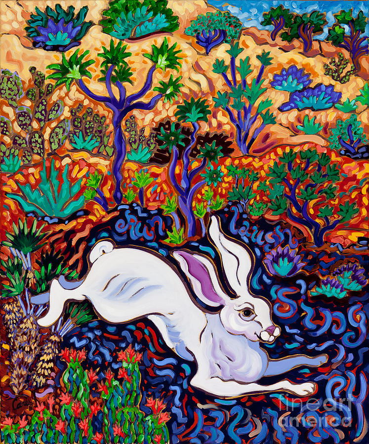 Rabbit Painting - Run, Laugh, Sing, Be Happy by Cathy Carey
