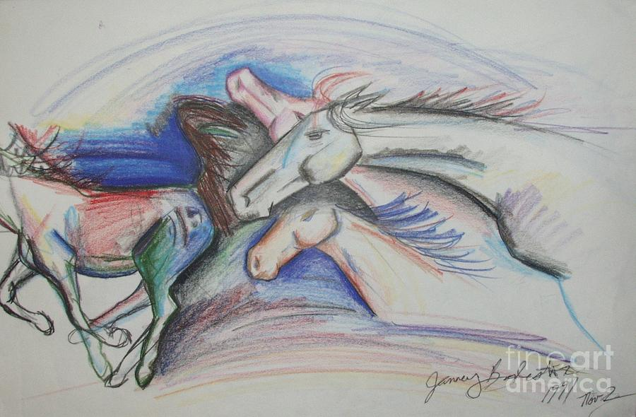 Horses Drawing - Run Like The Wind by Jamey Balester