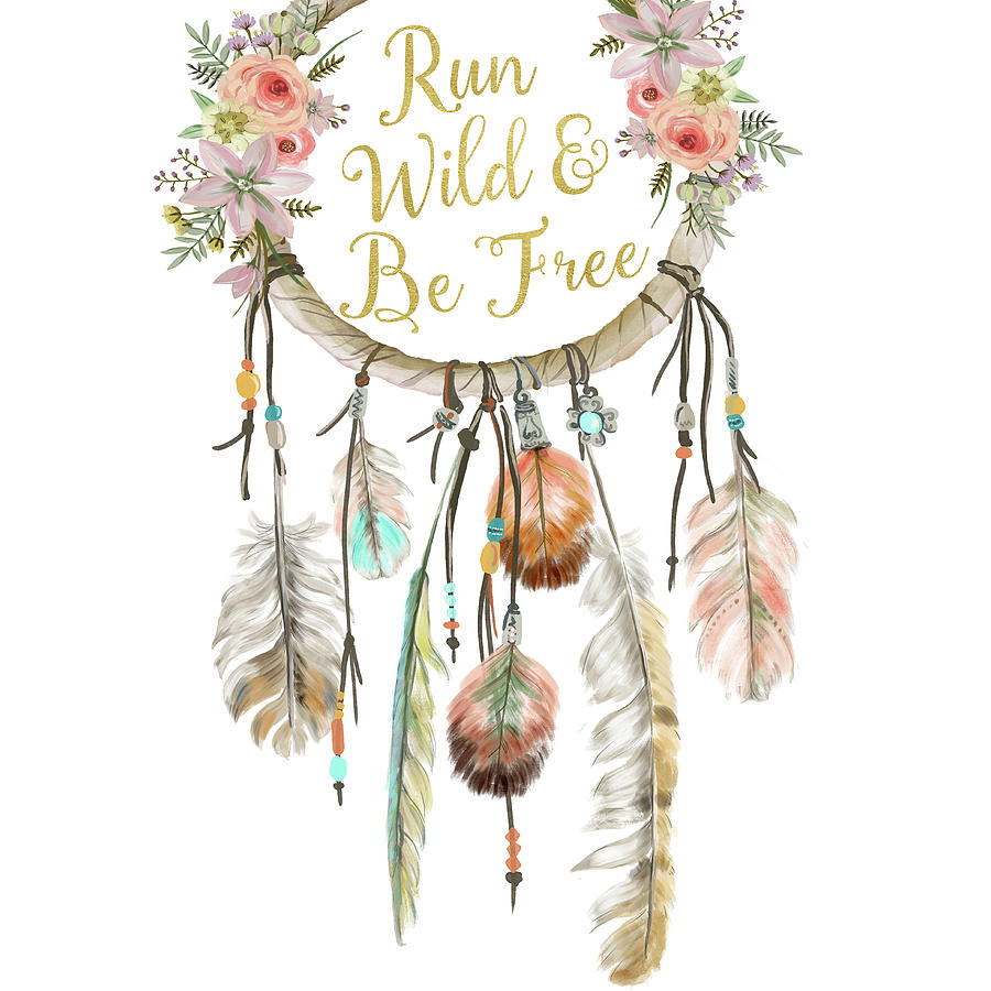 Boho Digital Art - Run Wild And Be Free Dreamcatcher Boho Feather Pillow by Pink Forest Cafe