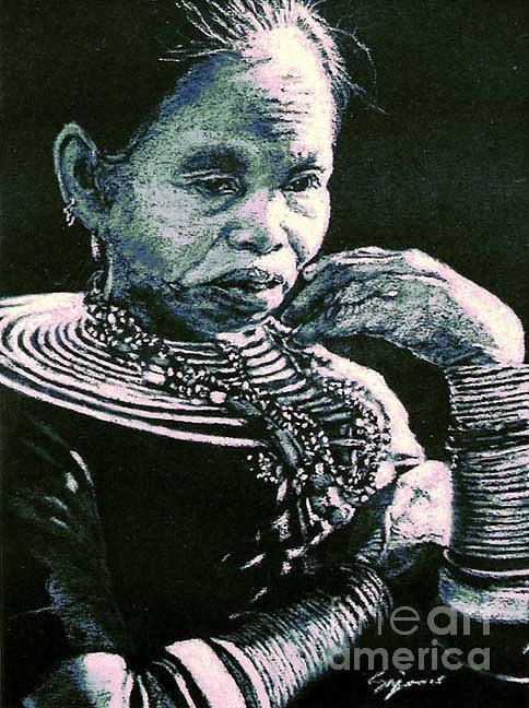 Tribal Woman Pastel - Rungus Woman by Suzie Majikol Maier