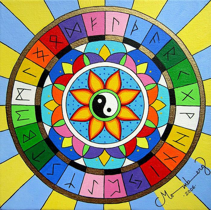 Mandala Painting - runic Meditation by Karin Momberg