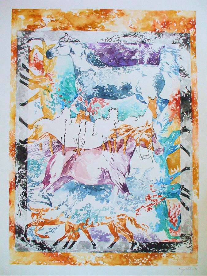 Horses Painting - Runners by Jennifer Bonset