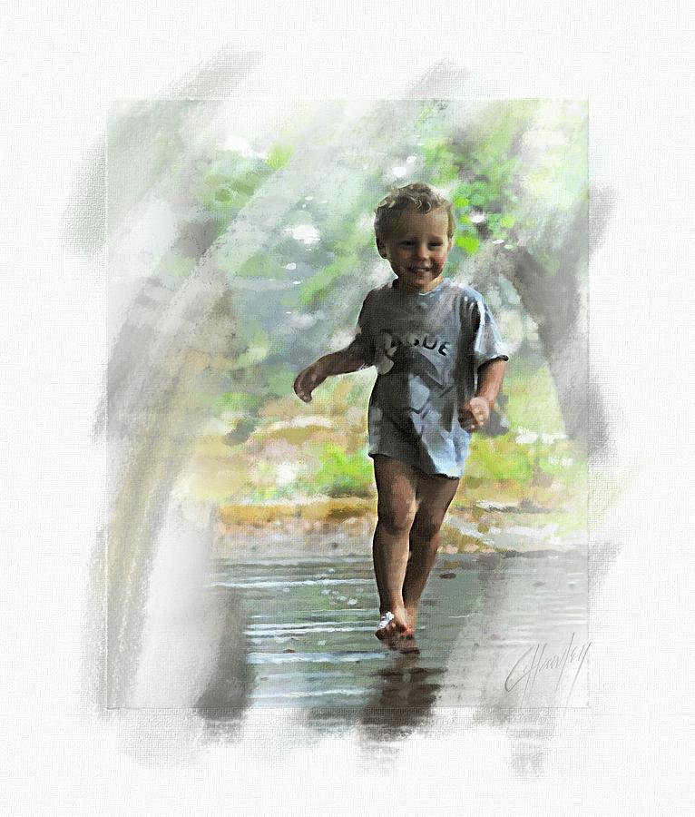 Boy Painting - Runnin In The Rain by Cliff Hawley