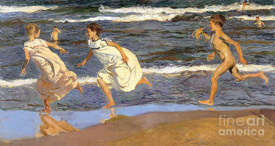 Boy Painting - Running Along The Beach by Joaquen Sorolla y Bastida