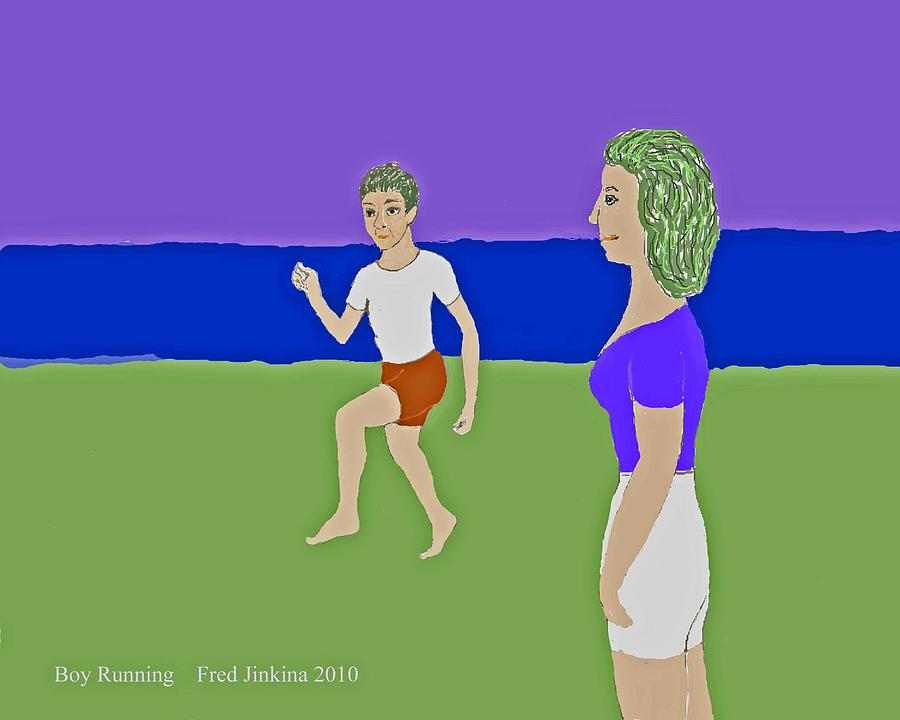 Mother And Son Painting - Running Boy by Fred Jinkins