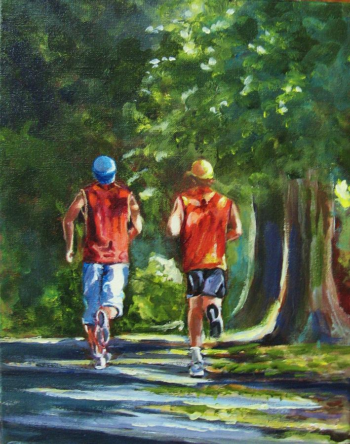 Landscape Painting - Running Buddies by Yvonne Dagger