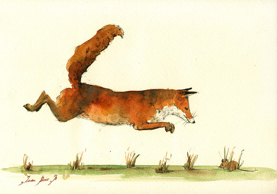 Running Fox Painting By Juan Bosco