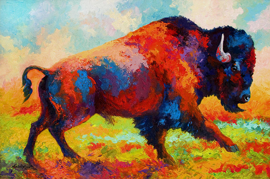 Bison Painting - Running Free - Bison by Marion Rose