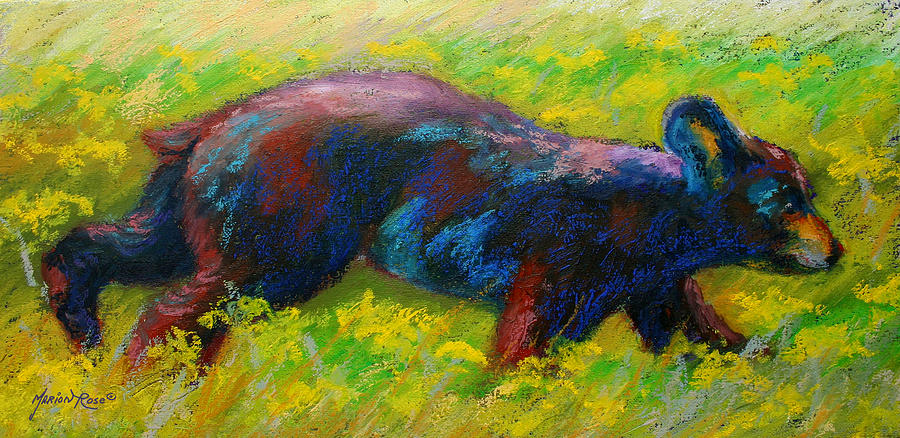Western Painting - Running Free - Black Bear Cub by Marion Rose
