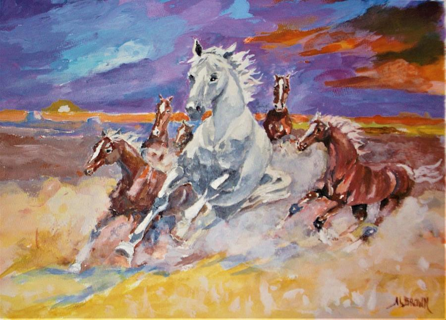 Horses Running Painting - Running Free At Sundown by Al Brown