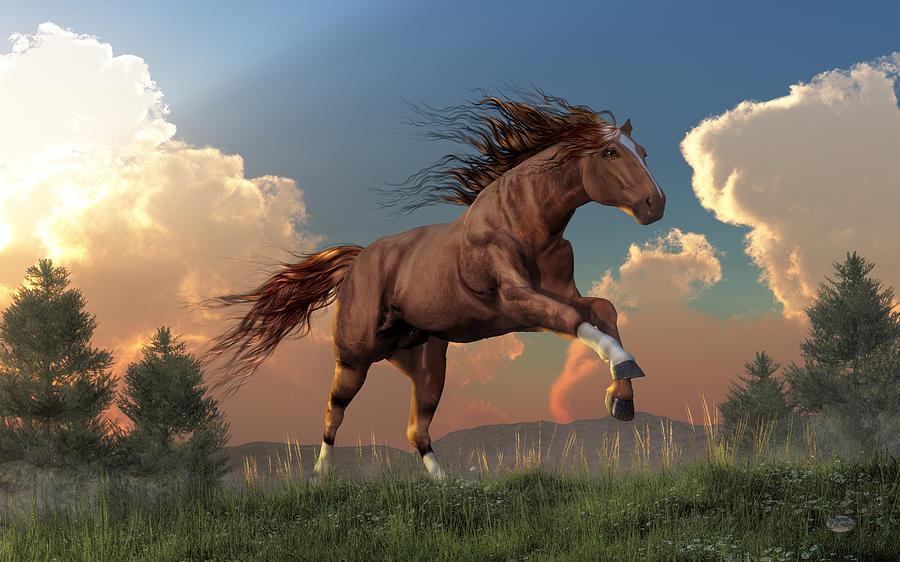 Running Free Digital Art - Running Free by Daniel Eskridge
