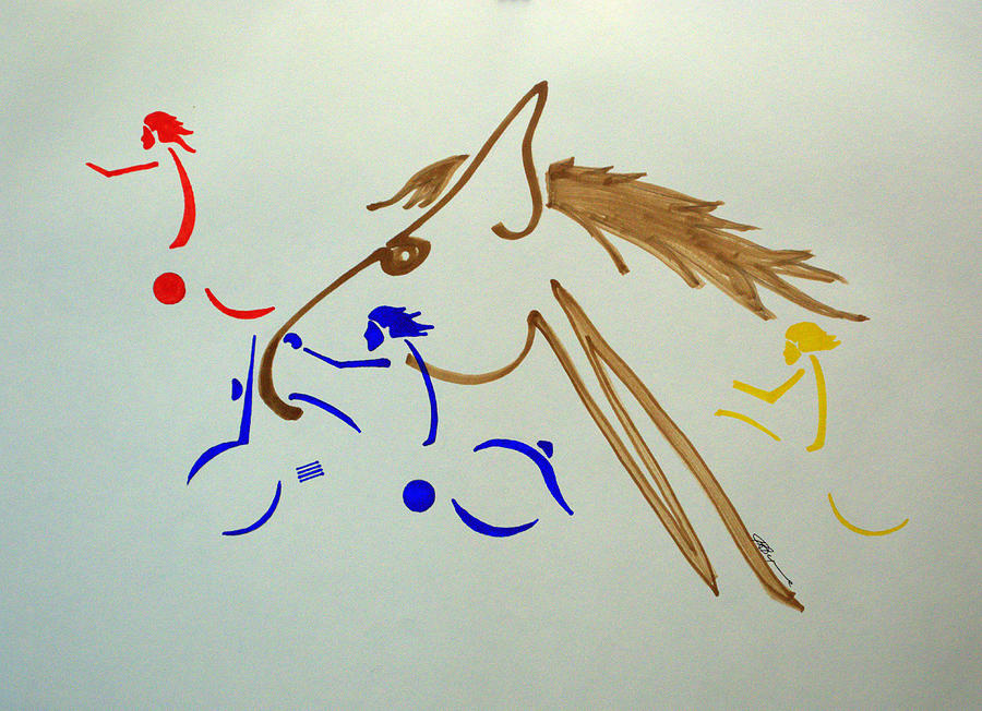 Abstract Drawing - Running Among The Pack by J R Seymour