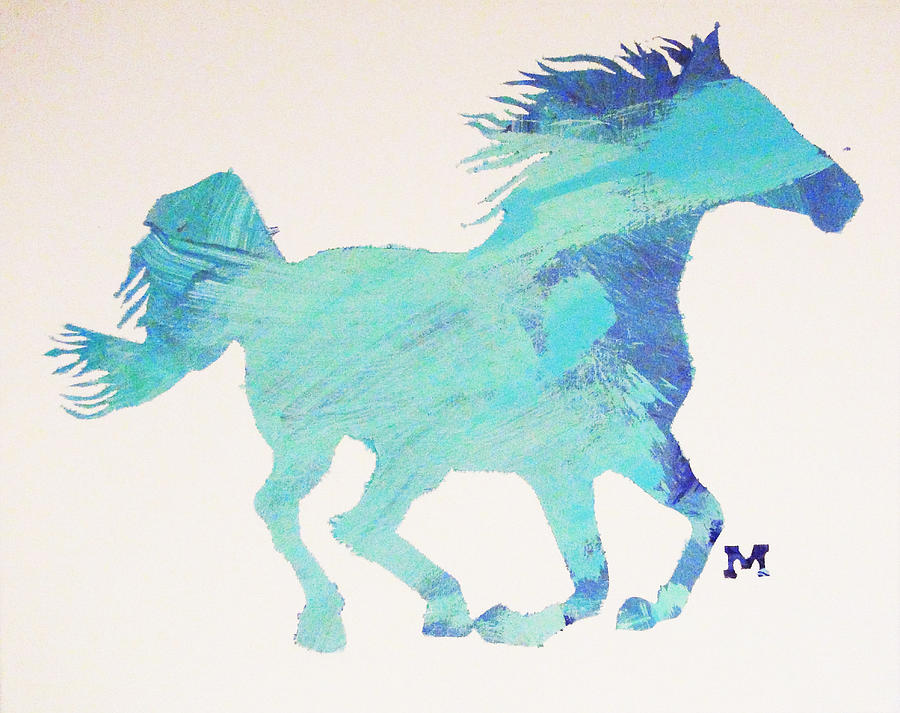 Horse Painting - Running Free by Candace Shrope