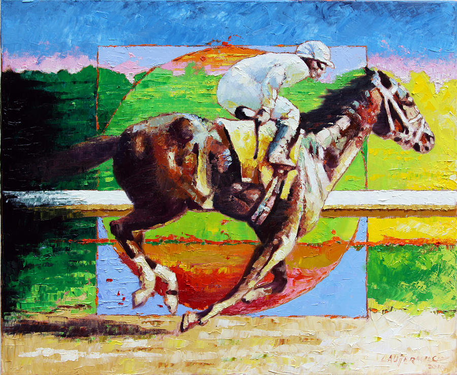 Horse Painting - Running from the Darkness by John Lautermilch
