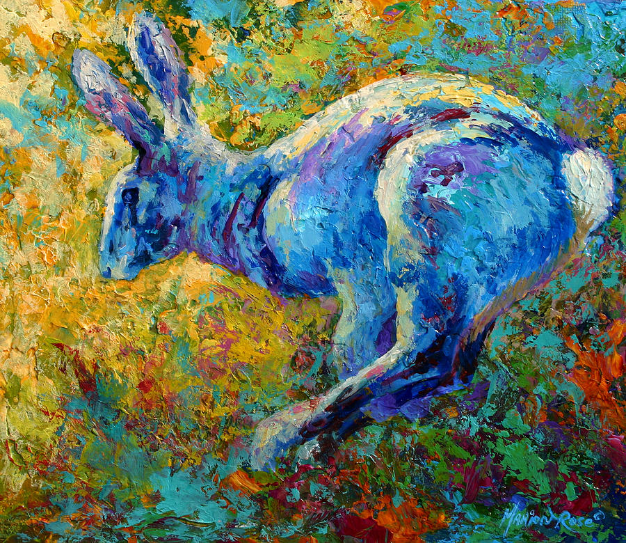 Rabbit Painting - Running Hare by Marion Rose
