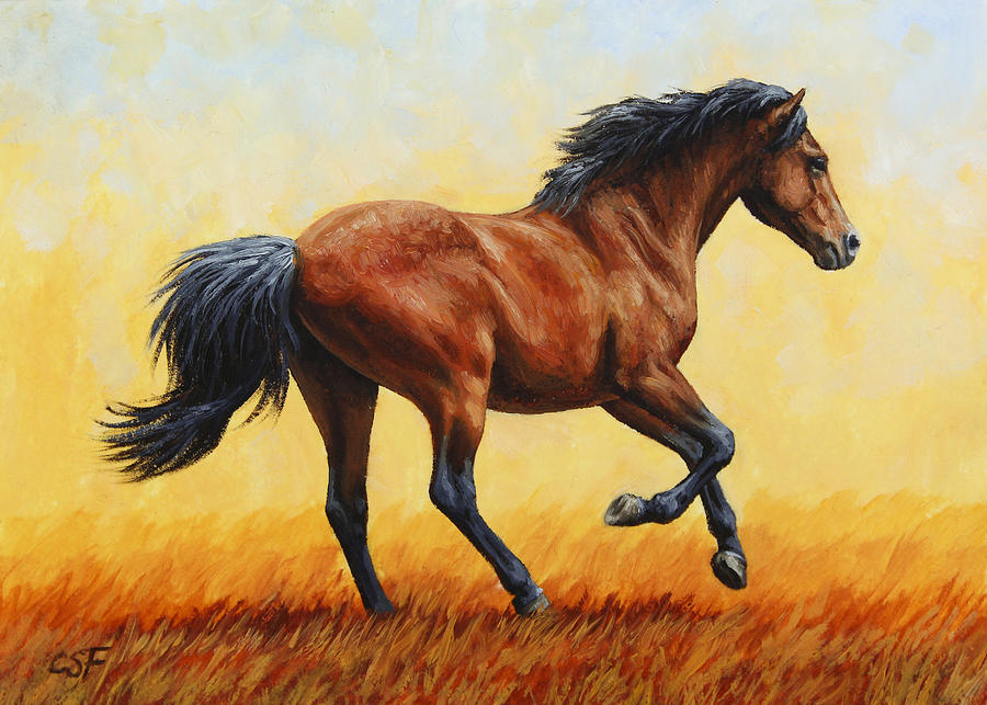 Horse Painting - Running Horse - Evening Fire by Crista Forest