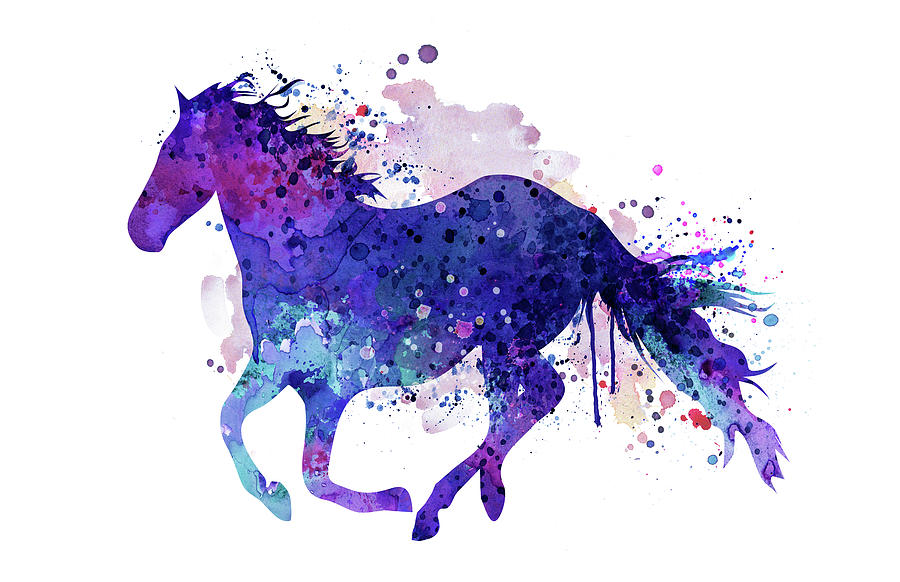Running Horse Watercolor Silhouette Painting by Marian Voicu