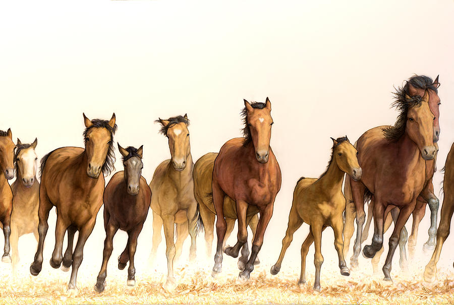Running Painting - Running Horses by James W Johnson