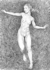 Drawing Drawing - Running Nude by Paul Herman