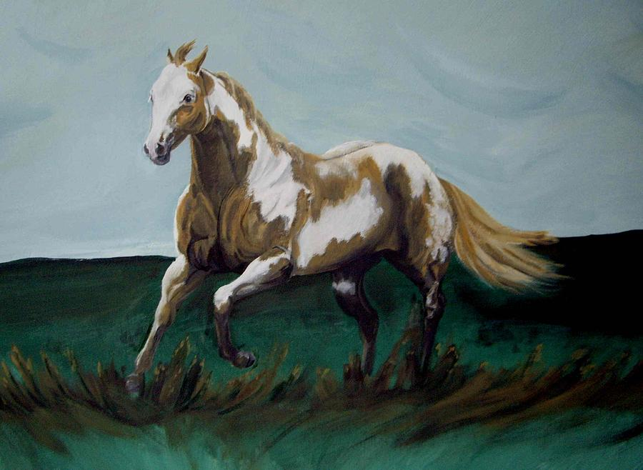 Horse Painting - Running Paint by Glenda Smith
