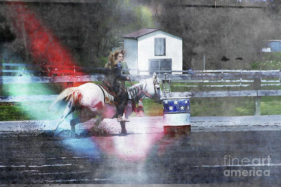 Barrel Race Photograph - Running the Barrel  by Steven Digman