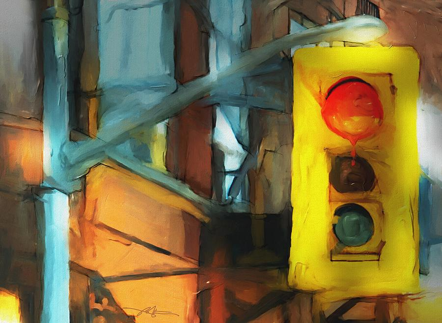 Stoplight Painting - Running The Red by Bob Salo