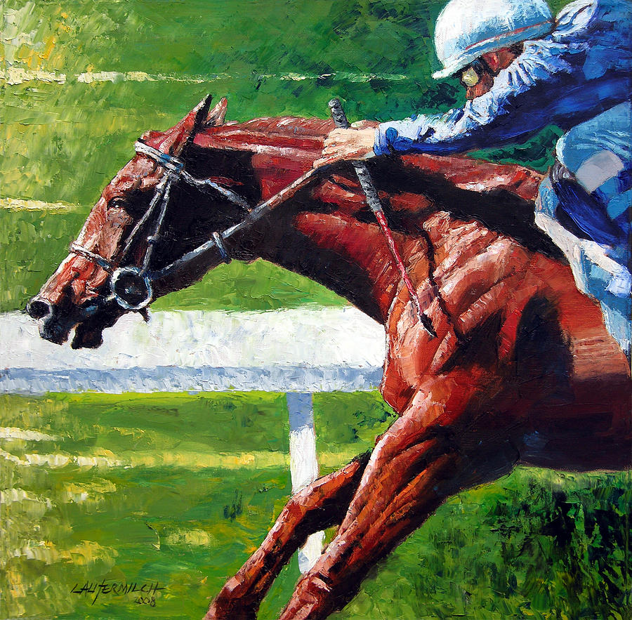 Horse Race Painting - Running Towards The Light by John Lautermilch