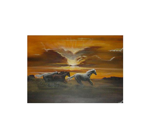 Horse Painting - Running Wild by John Hoot Gibson
